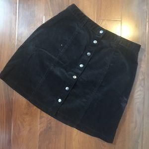 Corduroy black button up detail skirt